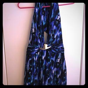 Bebe Blue / Black Metal Trim Halter Mini Dress